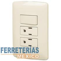 Placa Con 2 Contactos Y 1 Interruptor Sencillo Voltech 48668