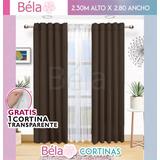 2 Cortinas Béla Sienna Doble Tela + 1 Velo  2.30alto X2.80