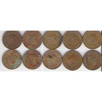 Lote 10 Monedas 5 Centavos Josefa Años Vintage Antiguo