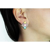 Arete Moda Dorado Cuadro Cristales Piedras Multicolorar441