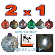 Esferas Navideña Gigante D Cristal Con Luz Led 30 Cm 2 X 1