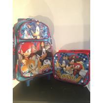 Sonic Back Pack Con Llantitas Y Lonchera $1290