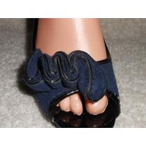Fioni! Lindas Zapatillas Azul Marino Boca De Pescado 24.5mex