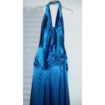 Vestido De Gala Azul Metalico Talla 0,