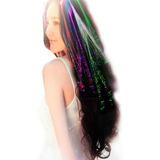 10 Extensiones Mechon Luminosos Led Multicolor Fibra Optica