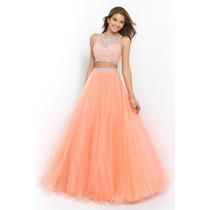 Hermoso Vestido De Noche 2 Piezas Falda Top Cristales Tull