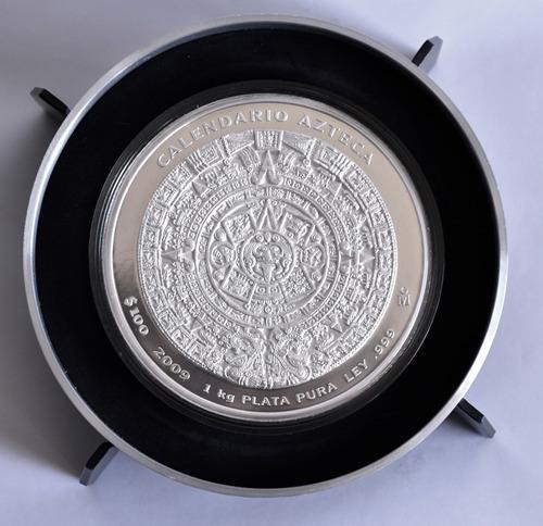 Moneda Kilo Plata .999 Calendario Azteca 2009 Nueva