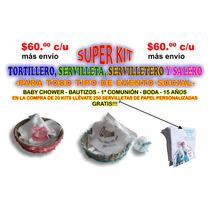 Kit Tortillero-servilletero-servilleta-salero Eventos+regalo