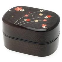 Kotobuki 2-con Gradas De Bento Box Negro / Rojo Cereza (saku
