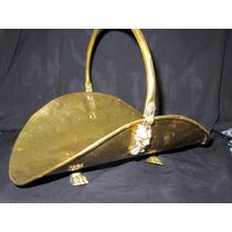 Antigua Bandeja Canasta Decorativa De Laton,elegante