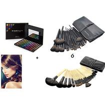 Kit Paleta Sombras Profesionales+32 Brochas Make Up For You