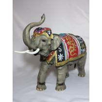 Elefante Con Tapete Decorado 42x34 Cm Figura De Resina