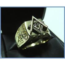 Anillo Grueso Mason En Oro Amarillo 18k Masonería Caballero
