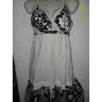 Vestido Algodon Maternidad Blanco/ Negro Floreado,
