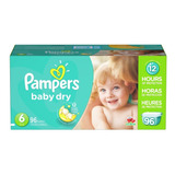 Pañales Pampers Baby Dry, Talla 6, 96 Pzs