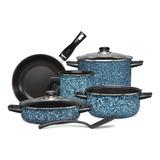 Batería De Cocina Línea Granito 8 Pz Color Azul Cinsa