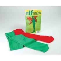 Elf Costume - Navidad Verde Y Rojo Jester Medias & Fancy