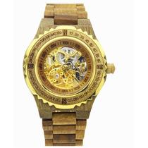 Reloj De Madera Natural Lujo,esqueleto, Elegante Y Exclusivo