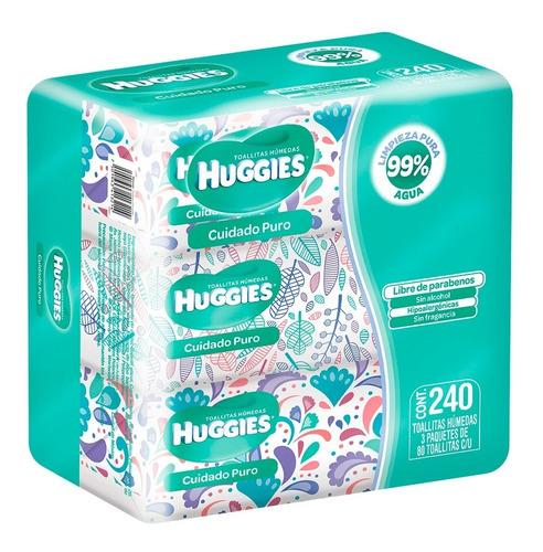 Huggies Cuidado Puro, Toallitas Húmedas, 3 Pack (80 Pz C/u)