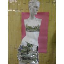 Sexy Minifalda Con Top De Lentejuela