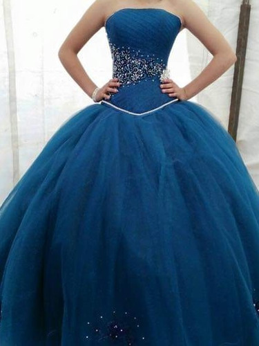 Hermoso Vestido De Xv Años Color Azul Petroleo En Venta En