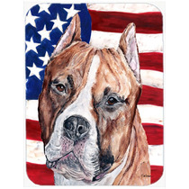Staffordshire Bull Terrier Staffie Con La Bandera Americana