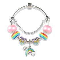0999bf40f0a5 Pulsera Estilo Pandora Plata 925 Con 8 Charms Arcoiris Rosa en venta ...