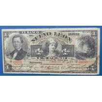 Billete Banco De Nuevo Leon $1.00 Peso 1893