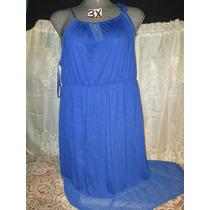 Vestido Largo Plus Azul Talla 3x Extragrande P-gordita