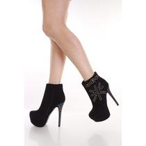 Zapatos Altos Tipo Botin Con Plataforma S. 25.5 Mex, 8.5u.