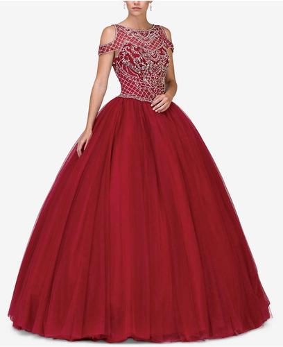 Vestido Xv Color Vino Talla Extra Grande 3638 Nuevo En