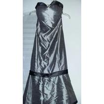 Vestido De Gala Gris Con Negro, Talla 0, Usado, $400 Pesos