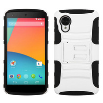 Funda Protector Mixto Lg Nexus 5 D820 Blanco/negro C/pie