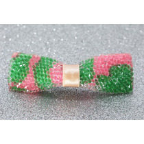 Prendedor Cabello Moño Cuadrado Cristales Verde Y Rosa Pre64