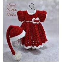Vestido Y Gorro Tejidos Niña Crochet Tema Navidad En Venta
