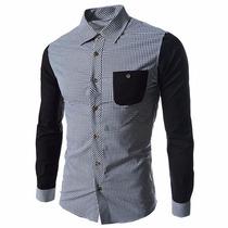 Camisa Juvenil Bicolor Hombre Con Bolsas Comoda Y De Moda