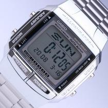 Reloj Casio Databank Db360 Plateado Telememo Dual Time