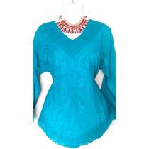 Blusa Azul Turquesa Bordada
