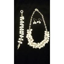 Juego De Collar, Pulsera Y Aretes De Perlas Blancas