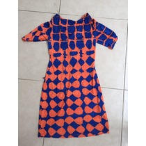 Vestido Corto Blusón Escote V Azul Naranja M Navidad Posada