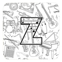 Conjunto De 4 De La Letra Z De La Nota Musical Cartas De La