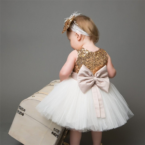 Vestido De Gala Para Niña Dorado Con Blanco Moño Hermoso En