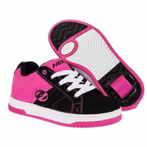 Patines - Tenis Fiusha Con Negro Para Niña Marca Heelys