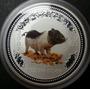 Moneda Plata Australiana 1 Oz Cerdito 2007 Color !!