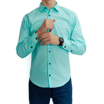 Camisa Lisa Color Menta Marca Concrete Manga Larga