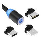 Cable Usb Magnetico 3 En 1 Micro Usb, Tipo C, iPhone,