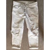 Jeans Con Agujeros Zara Blancos Talla 26, S Mujer