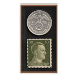 Grr-moneda Alemania Nazi 2 Marcos Plata 1937 + Timbre Hitler