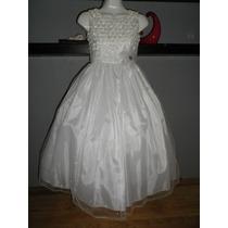 Dress Vestido Largo Blanco Años Fiesta Comunion Pajecita
