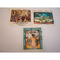 Estampillas Mexico 3 Pzas.arte Pictorico Diego Rivera Y Ruiz